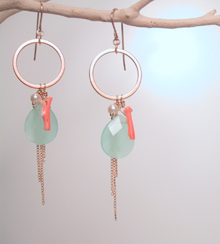 Aqua Quartz with coral on brass rings