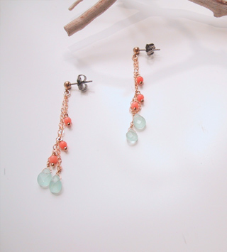 Aqua quartz on layered chains with coral beads
