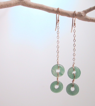 Aventurine rings on gold filled chain