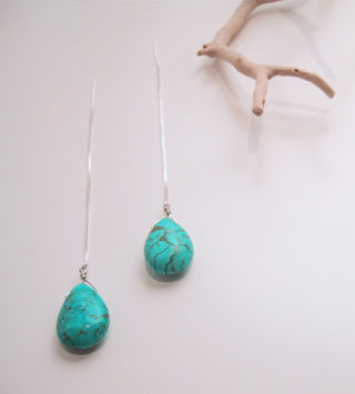 Blue howlite drops with sterling thread