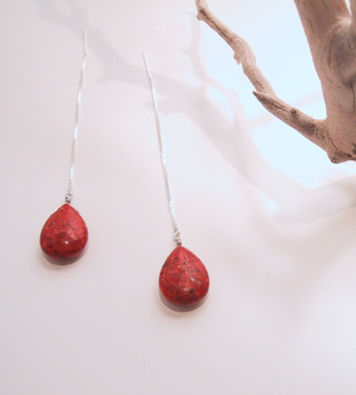 Red sponge coral drops with sterling thread