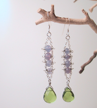 Green quartz with purple glass beads