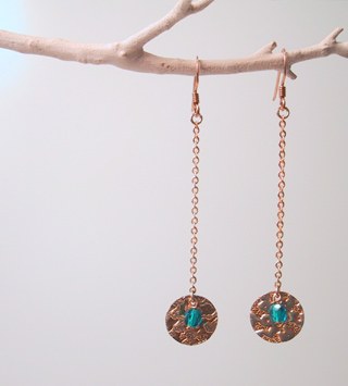Gold disks with green/blue glass beads