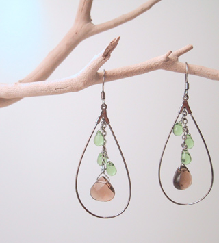 Topaz colored quartz with green teardrops