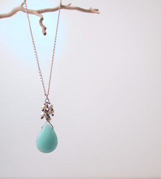 Chinese amazonite with resin pearl beads