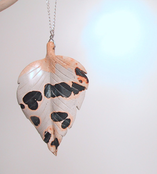 Oversized stone leaf necklace on sterling chain