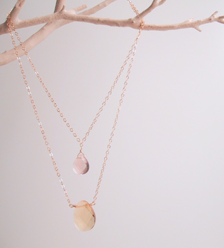 Citrine and pink quartz layered necklace